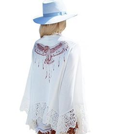 """Yonala Womens Lace Crochet Eagle Printed Swimwear Beach Cover Ups Cardigan. One Size:Length 69cm/ 27inch,Shoulder 73cm/ 28inch,Sleeve 32cm/ 12.5inch. Fashion design cover up,wear it more attractive. You can wear it for the beach,swimming pool,home,and even as a coat for sunscreen. This beautiful cover up could match with bikini,swimwear, swimsuits,Monokini,beachwear,bathing suits and so on. """"YONALA"""" has registered US Trademark,the item is ONLY provided by YONALA,and did not authorize any…"""