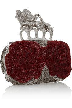 Alexander McQueen Knuckle bead and Swarovski crystal-embellished canvas box clutch Alexander Mcqueen Clutch, Canvas Purse, Unique Purses, Red Handbag, Beaded Clutch, Purses And Handbags, Clutch Handbags, Clutch Bags, Swarovski Crystals