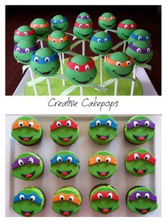 Ninja turtle cake pops and cupcakes #TMNT #cakepops #cupcakes