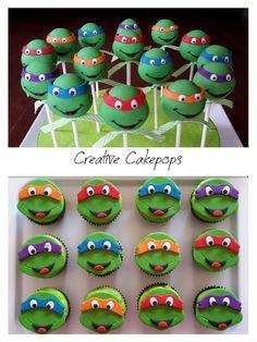 Ninja turtle cake pops and cupcakes #TMNT #cakepops #cupcakes