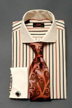 Dress Shirt by Steven Land Spread Collar French Cuffs Striped DS1064BR | eBay