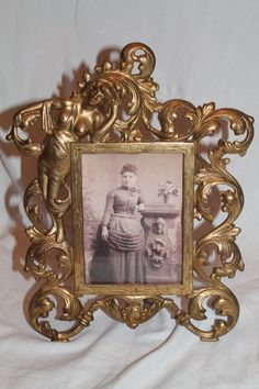 Antique  American Victorian Rococo Brass Ornate Picture Frame ~ Circa 1890's~ Original Condition. This is a wonderful Victorian desk or dresser