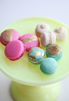 Pretty pink and aqua macaroons accented with gold.