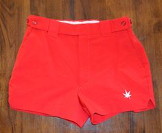 vintage 70s tennis shorts boasters BOAST tab front 28 30 waist Small pot leaf 420 red 80s