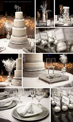 Gorgeous winter themed wedding cake and details!!