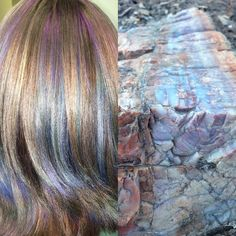Petrified wood has pretty colors in it. #pastelhair #metallichair #petrifiedforest #painteddesert #arizona #rainbowhair #unicornhair #mermaidhair #behindthechair #modernsalon #btconeshot_haircolor16 #btconeshot_rainbow16 #smashedrose