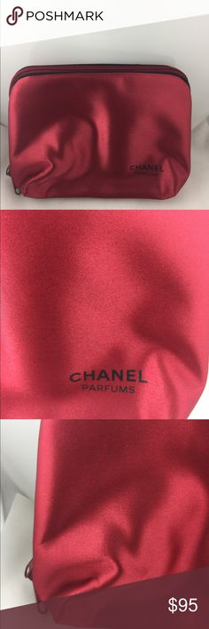 Chanel Parfums Cosmetic Pouch! In very good condition.  Has very minor wear to satiny material.  Inside appears to have very little wear.  Big pouch with two zippered pockets inside. See pictures. CHANEL Bags Cosmetic Bags & Cases
