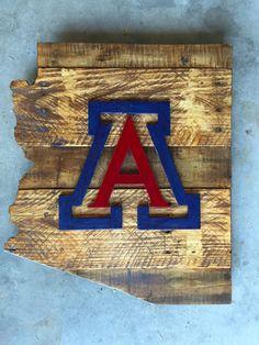 University of Arizona Wood Sign, Arizona Sign, University of Arizona Art, University of Arizona Decor, Arizona Wall Art by LarkinsWoodshop on Etsy https://www.etsy.com/listing/279312056/university-of-arizona-wood-sign-arizona