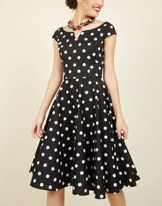 "For a classic retro vibe, go for a fit-and-flare dress with a ladylike print. Add a strand of pearls, short gloves, and kitten heels to complete the look. Red lips don't hurt either!   $80 | <a rel=""nofollow"" href='http://www.modcloth.com/shop/dresses/the-east-coast-swing-of-things-cotton-dress'>modcloth.com</a>"