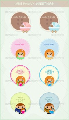 Mini Family Greetings  #GraphicRiver         Use this cute set of eight mini family greetings to wish your parents on Mother's Day and Father's Day. The set also contains mini Baby Shower invites/greetings and mini greetings to mark the birth of a baby girl and a baby boy.  	 You can send these mini greetings as e-cards, as well as get them printed.  	 You can type in your personalized message in the message area of every greeting.  	 NOTE : The text you see in the preview image (example…