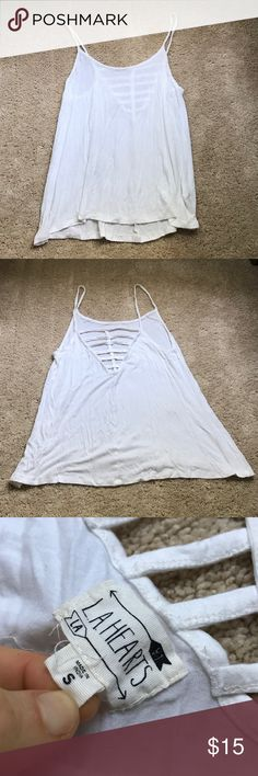 LA Hearts PacSun flowy white shirt Super cute. Caged back. It looks really cute with a caged bralette. Super soft. Only worn once. :) LA Hearts Tops Camisoles