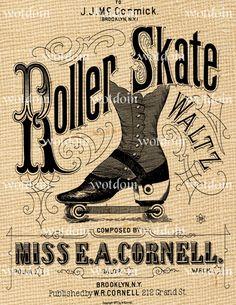 Vintage Roller Skates Waltz Dance Fancy by debsvintageprints, $1.95