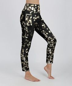 Look what I found on #zulily! Black & Gold Bokeh Pocket Leggings - Women & Plus #zulilyfinds