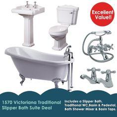 Bathroom Suite Complete Toilet Basin Bath Taps White