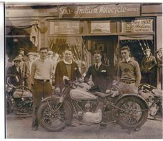 Joseph and Mafaldo Soliin in front of their Indian Motorcycle shop in New Haven CT. 1932.