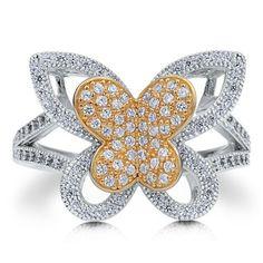 """Двухцветное кольцо """"Двойная Бабочка"""" с позолотой и цирконами CZ из стерлингового серебра"""