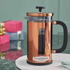 personalised geometric copper cafetiere by becky broome | notonthehighstreet.com