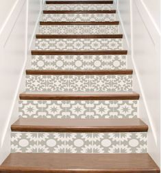 Vinyl Stair Tile Decals – Hacienda Spanish Style Staircase Sticker Decor – Your Choice of Color, Designs and Quantity – Stair Riser Idea Vinyle escalier carrelage autocollants Hacienda par crowbabys Cute Apartment Decor, Tile Stairs, Tiled Staircase, Stairs Vinyl, Stair Stickers, Staircase Makeover, Tile Decals, Hacienda Style, Mexican Hacienda