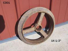VINTAGE PRIMITIVE CAST IRON GEAR PULLEY COG OLD RUSTY FARM TRACTOR PLOW WHEEL