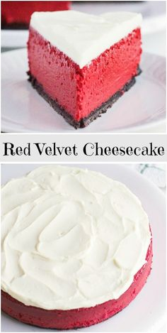 Red Velvet Cheesecake Cake Recipe – beautiful, fun to make and delicious! Perfect for any celebration. Two layers of moist red velvet cake with luscious cheesecake layer in between. Just Desserts, Delicious Desserts, Yummy Food, Delicious Cookies, Gourmet Desserts, Italian Desserts, Sweet Desserts, Plated Desserts, Food Cakes