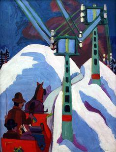 """""""Die Schlittenfahrt"""" (The Sleighride) by Ernst Ludwig Kirchner, 1923"""