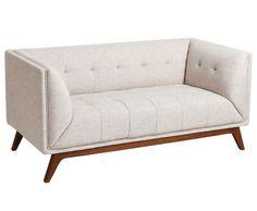 Sofá de 2 Plazas Capitoné Madera de Caucho 81 x 156 x 74 cm