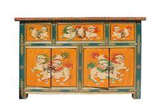 Chinese Orange Tibetan Foo Dogs Sideboard Console Table