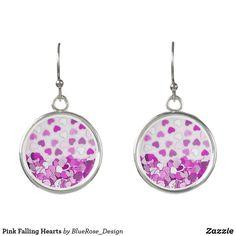 Pink Falling Hearts Earrings Heart Earrings, Drop Earrings, Colorful Backgrounds, Purple, Pink, Coin Purse, Hearts, Perfume, Cosmetics