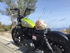 Bastard's Motorcycles www.bastards-shop.com #harleydavidson #sportster #bastards #bastardsbcn #sitges #barcelona #rental #hire #summer #enjoy #chopper #bobber #yelow #green #sinfiltro