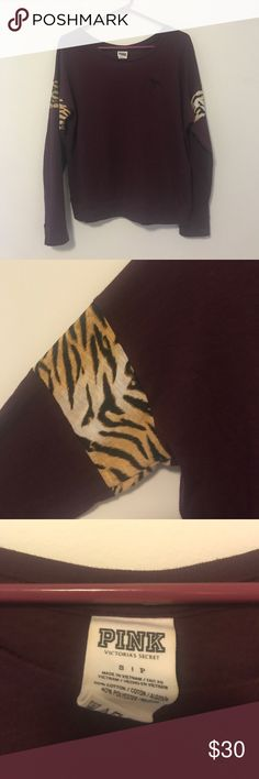 PINK Victoria's Secret Maroon Tiger Stripe Tee In excellent condition! Very cute and perfect for the fall. Offers welcome🌟 PINK Victoria's Secret Tops Tees - Long Sleeve