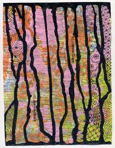 Joanna Grant Mixed Media Art: Gelli Plate Prints, India Ink And Zentangles