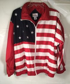 b3c966aa06f American Flag UNITED STATES Jacket Patriotic USA FLAG windbreaker LARGE L