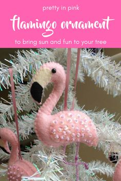 What a great flamingo ornament! Great gift for a tropical vibe, hand stitched with sequins.