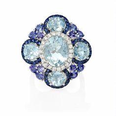 Diamond, Sapphire, Tanzanite and Aquamarine 18k White Gold and Black Rhodium Ring