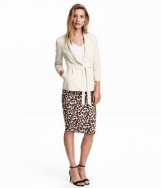 Check this out! Knee-length pencil skirt in thick fabric with a visible zip and slit at back. Unlined. - Visit hm.com to see more.