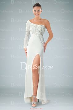 Coquettish One Long Sleeve White Evening Dress with Beads and Split-front  White Long Sleeve 27dd2b717