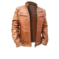 Light Brown Men Leather Jacket-Men - Apparel - Outerwear - Jackets-My MALL Metro
