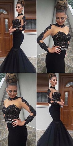 Boho Prom Dresses, long sleeves mermaid evening dress, elegant black long prom dress, lace appliques formal dress, you be the star of your own prom by offering you hundreds of options for your perfect 2020 prom dress! Long Sleeve Evening Dresses, Mermaid Evening Dresses, Evening Gowns, Evening Party, Black Wedding Dresses, Elegant Dresses, Formal Dresses, Black Prom, Homecoming Dresses
