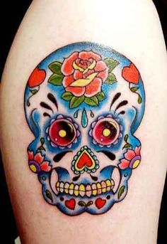 Mexican-style sugar skull tattoo