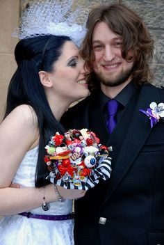 Tim Burton inspired wedding bouquet Gothic by moonmaisie on Etsy, $190.00