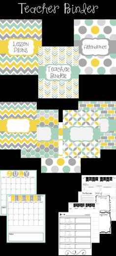 Editable Teacher Binder for Secondary Teachers in Gray, Yellow, and Aqua! Includes everything you need to get organized. This is just a sample of what is included :)