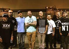 Bobby Tribal, Big Sleeps, Tim Hendricks, Luke Wessman, Twitch, Chuy, Tim M, Travis Barker together at the Agenda show in Long Beach