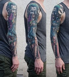 80+ Awesome Examples of Full Sleeve Tattoo Ideas   Cuded Comic Tattoo, 4 Tattoo, Sick Tattoo, Real Tattoo, Dope Tattoos, Arm Tattoos, Body Art Tattoos, Tattoos For Guys, Tatoos