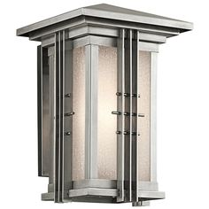 Porch light $318 Kichler Lighting Portman Square Outdoor Wall Light 49159SS