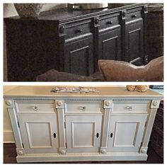 Before & after sideboard painted with Amy Howard One Step Paint in Hugo Grey finished with Light Antique Wax
