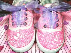 THINK PINK #shoes #canvas #paint #sharpies #ribbon #sparkles #glitter #sequins #fancy