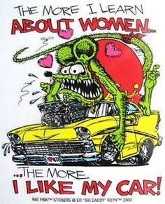 rat fink decals | Rat-Fink-WOMEN-and-CARS-Decal-Sticker-Hot-Rod-Car-Man-Cave-Chevy