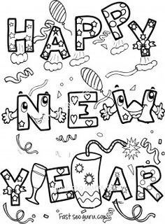 happy new year coloring sheet new years crafts and ideas
