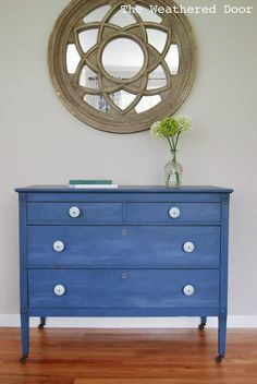 A Federal Blue Milk Paint Dresser with Light Blue Knobs - The Weathered Door