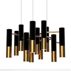 Chandelier ~ Tubular suspension light fixture of black/gold finish.